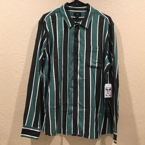 Obey Wicker Woven Teal Multi Stripe Shirt NWT